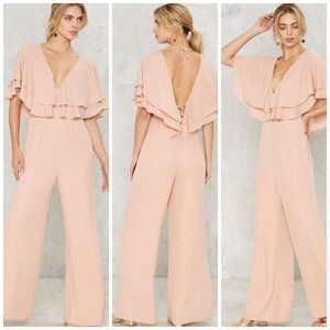 NASTY GAL Paxton Ruffle Dressy Jumpsuit Peach M